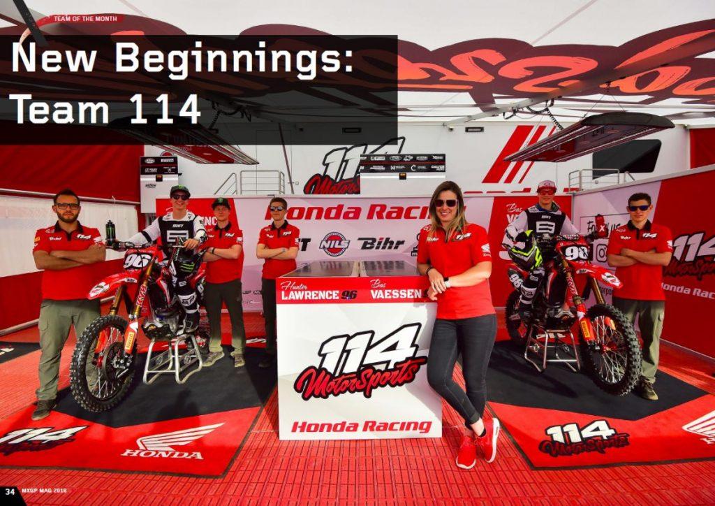 Le Honda 114 Motorsports à la une du MXGP Mag d'avril
