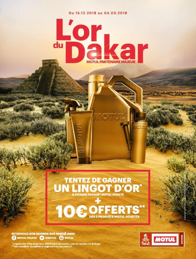 L'or du Dakar - concours Motul affiche