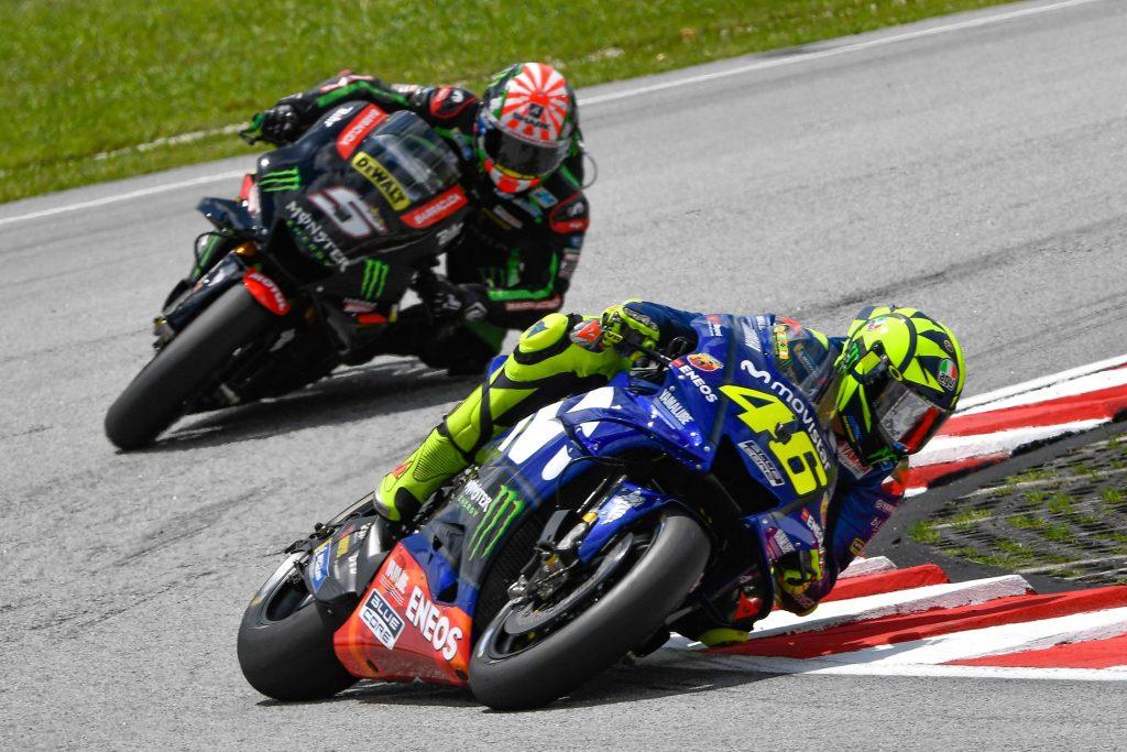 MotoGP Sepang 2018 Zarco dans la roue de Rossi