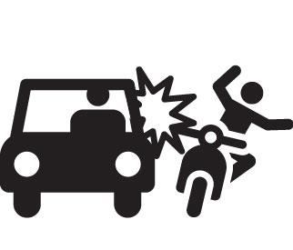 accident entre un deux-roues et une voiture