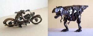 sculptures en pièces de moto recyclées