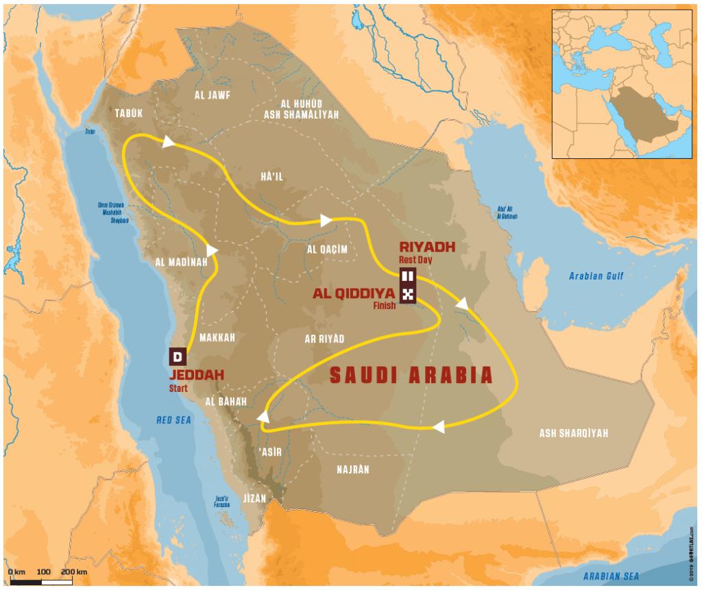 Dakar 2020 parcours en Arabie saoudite