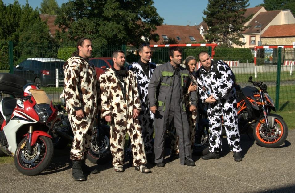 Les vaches et le fermier à moto