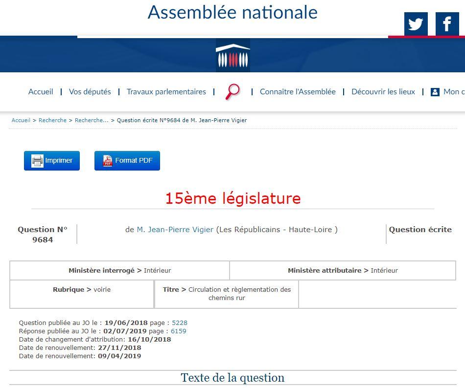 Jean-Pierre Vigier (LR-Haute-Loire) interroge le Ministre de l'Intérieur