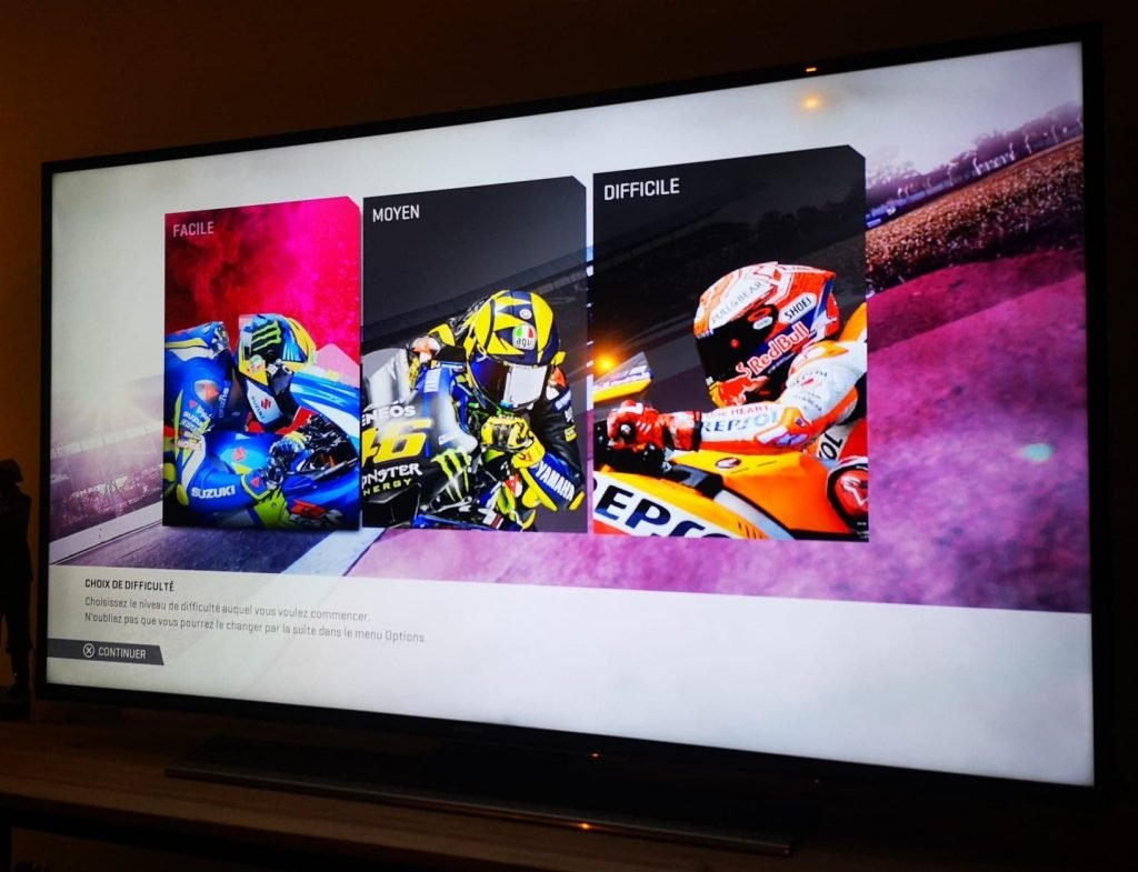 Choix de la difficulté dans MotoGP19