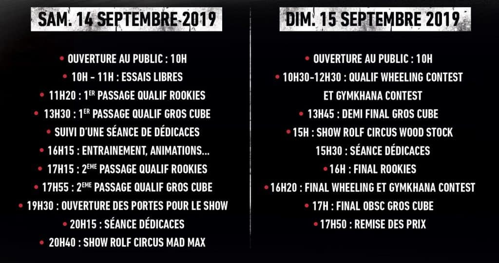 horaires Ouest Bike Show Contest 2019