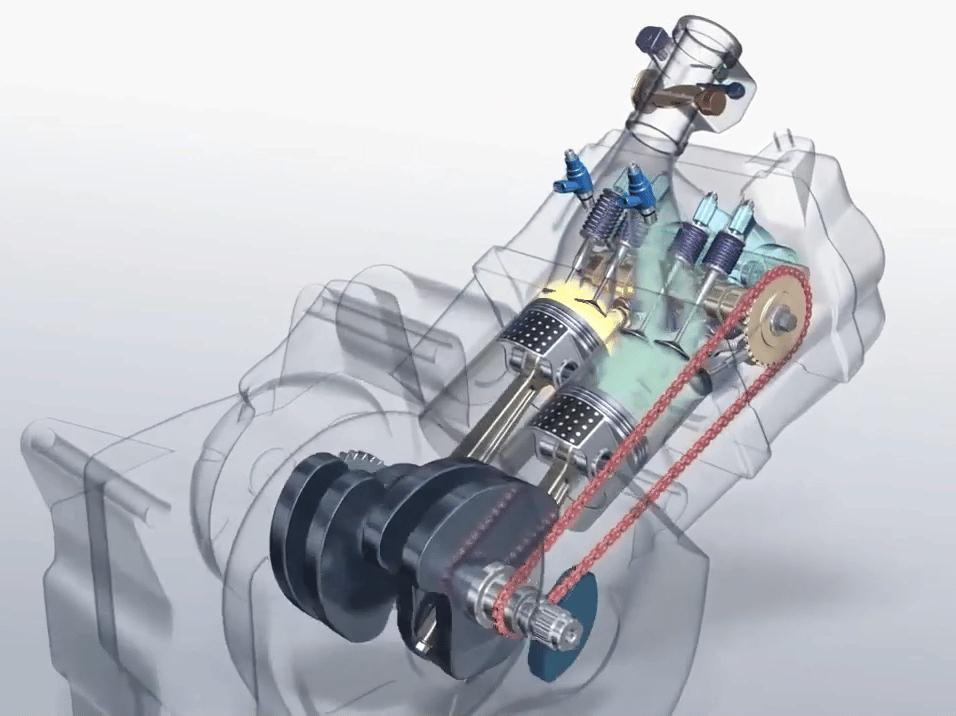 moteur de moto bicylindre en ligne