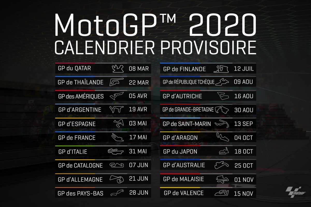calendrier provisoire MotoGP 2020