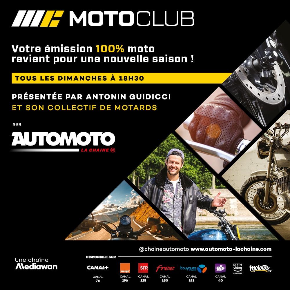 Moto Club sur Automoto La Chaîne, en partenariat avec La Bécanerie. Découvrez notre spot TV avant et après chaque émission !